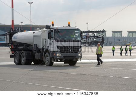 ST. PETERSBURG, RUSSIA - SEPTEMBER 24, 2015: Schmidt airport sprayer during the annual review of equipment in the Pulkovo airport. The review is held in order to prepare to winter