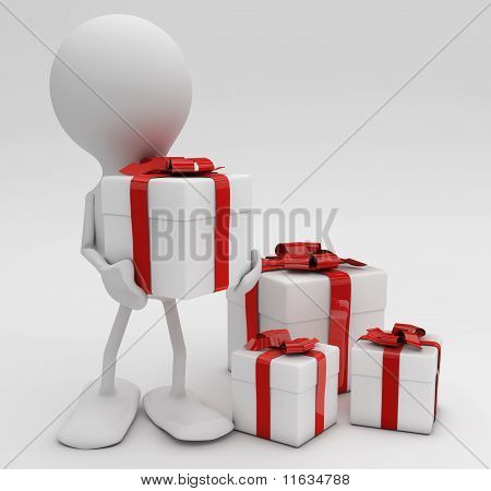 Man with lots of gifts