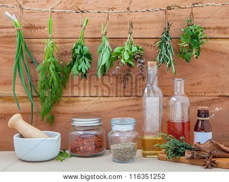 Assorted Hanging Herbs ,parsley ,oregano,sage,rosemary,sweet Basil,dill,spring Onion  And  Set Up Wi