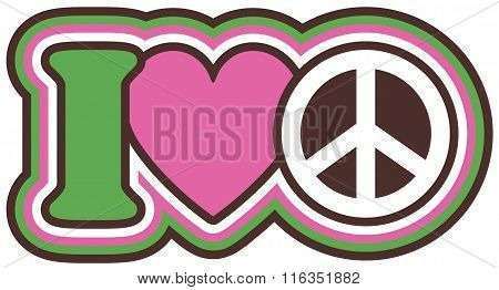 Icon design of I Love Peace in pink, green,black and white.
