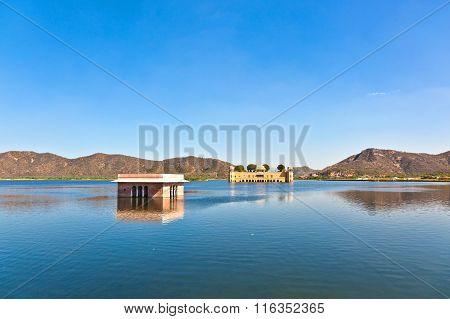 Water Palace (jal Mahal) In Man Sagar Lake. Jaipur, Rajasthan, India. 18Th Century
