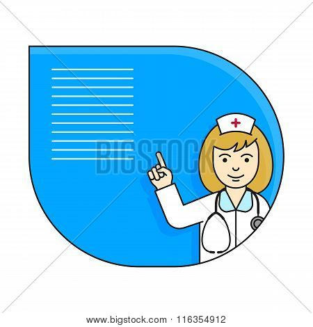 Nurse pointing up with her index finger