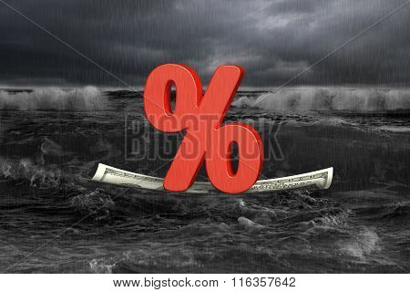 Red Percentage On Money Boat With Oncoming Wave In Dark