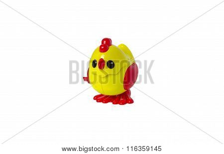 yellow Chicken toy isolated on white background