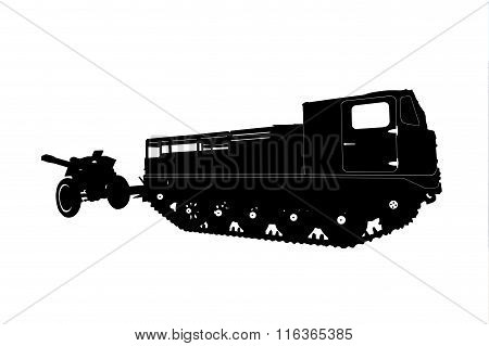 Silhouette Of A Tractor With A Gun