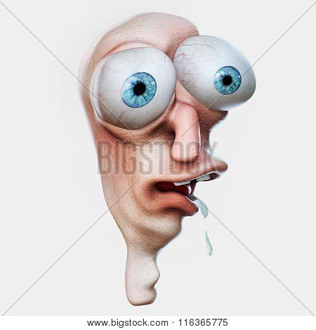 Rage Comics Face. Amazed Internet Meme. 3D Illustration