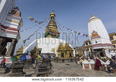 Kathmandu, Nepal - February 10, 2015: Stupa In Swayambhunath Monkey Temple.10, 2015 In Kathmandu, Ne