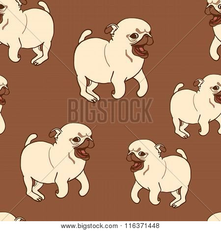 Seamless pattern with hand drawn pug puppies