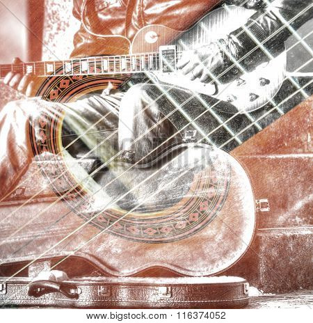 Double Exposure Of A Guitar Player With An Open Guitar Case