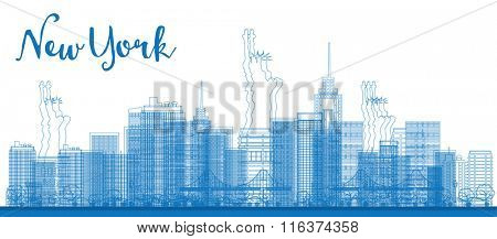 Abstract Outline New York city skyline with skyscrapers. Vector illustration. Business and tourism concept with place for text. Image for presentation, banner, placard and web site