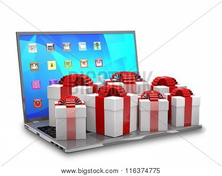 Gift Boxes On A Laptop Keyboard.