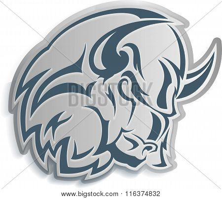 Monochrome vector illustration - icon: the head of strong extrimely furious and dangerouse bull. poster