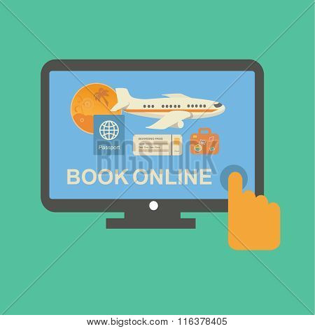 Online travel tickets booking service with plane silhouette, on its screen
