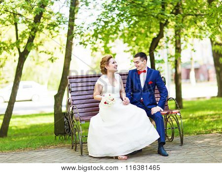 Romantic wedding couple sitting on a bench in the spring park