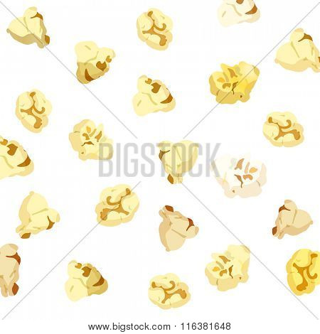 Popcorn falling on white background. vector 10eps