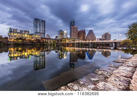 Austin Downtown Skyline By The River At Night, Texas