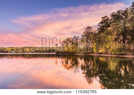 Sunset At Hamilton Lake In Arkansas