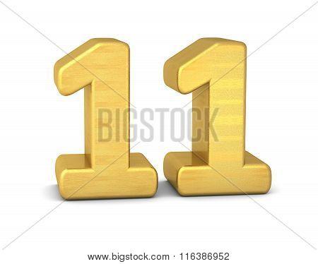 3D Number 11 Gold