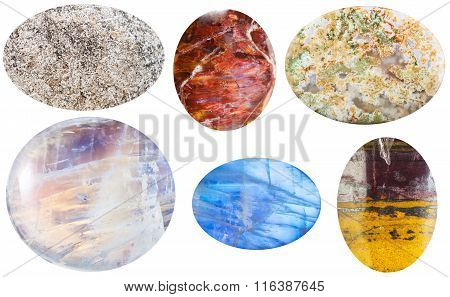 Various Cabochon Gem Stones Isolated On White