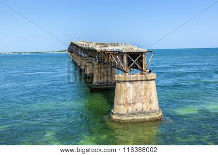 Old Railroad Bridge On The Bahia Honda Key