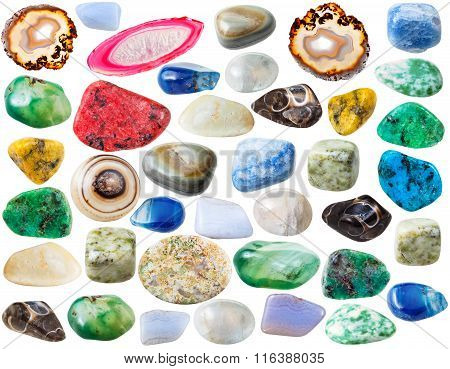 Various Agate Gem Stones Isolated On White