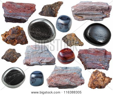 Various Hematite Gem Stones And Rocks Isolated