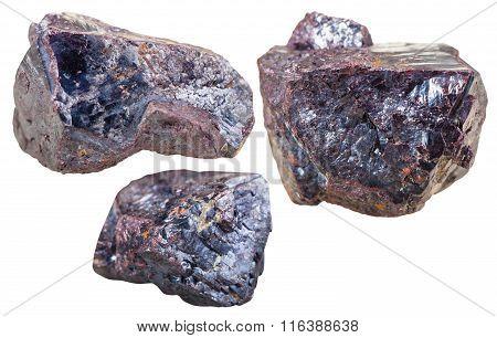 Three Cuprite Mineral Gem Stones Isolated
