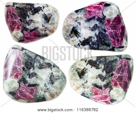 Tumbled Corundum Crystals In Rocks Isolated