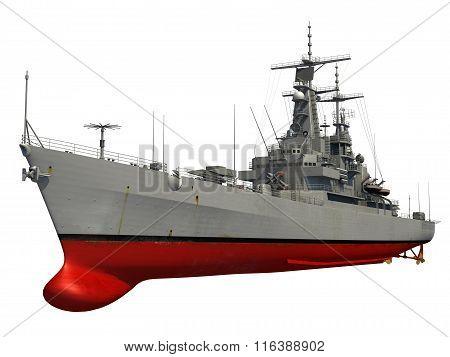 Modern Warship Over White Background