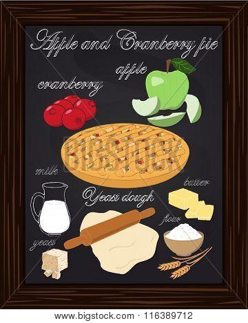 Apple Cranberry Pie Drawn In Chalk