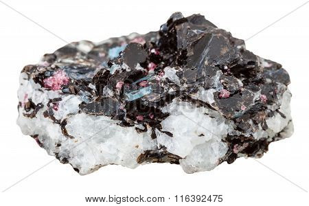 Gneiss Mineral Stone With Many Crystals Isolated