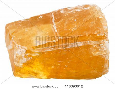 Orange Calcite Mineral Stone Isolated On White