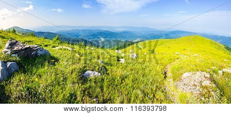 Path Among Stones On Mountain Top At Sunrise