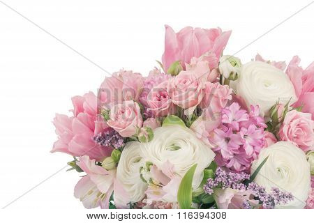 Amazing flower bouquet arrangement in pastel colors isolated on white poster