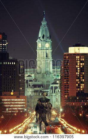 George Washington statue and City Hall at night in Philadelphia