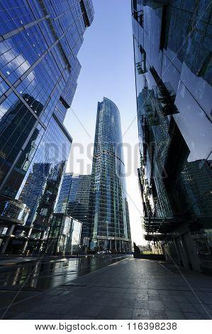Modern business skyscrapers