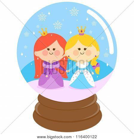 Beautiful princesses in a snowglobe