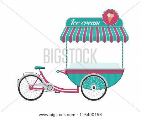 Vintage ice cream bicycle cart bus vector illustration.