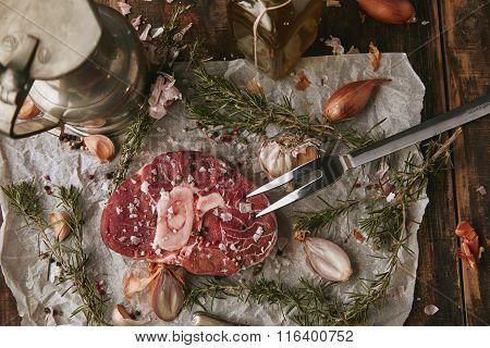 Food Set, Spices, Raw Steak, Topview