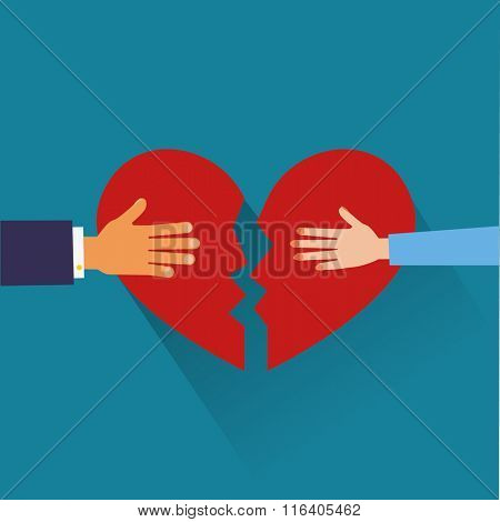 hand of a man  and hand of a woman tearing apart heart symbol. flat style.
