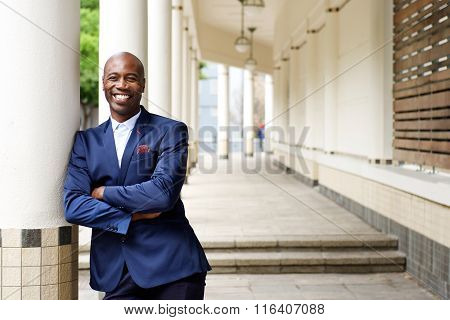 Confident African Businessman Standing Outdoors