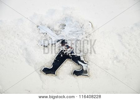 Logo Of Peugeot On Car During Snowy Weather