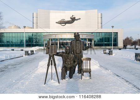 Kosmos Theatre And Lumiere Brothers Sculpture In Winter
