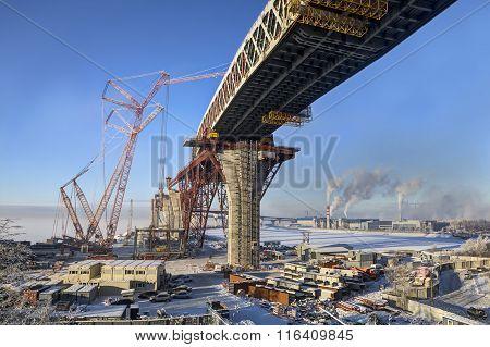 Construction Two-tier Road Bridge Across Sea Channel Of Saint-petersburg, Russia.