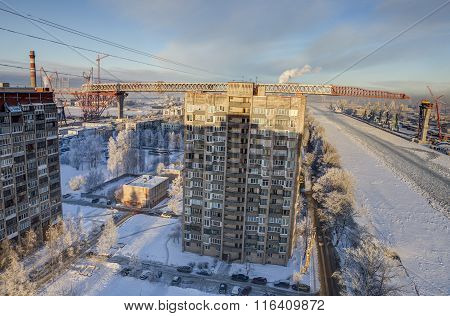 Construction Of Two-level Road Bridge Over Apartment Buildings, Saint-petersburg, Russia.