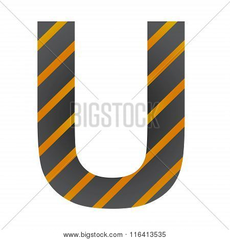 Letter U On White