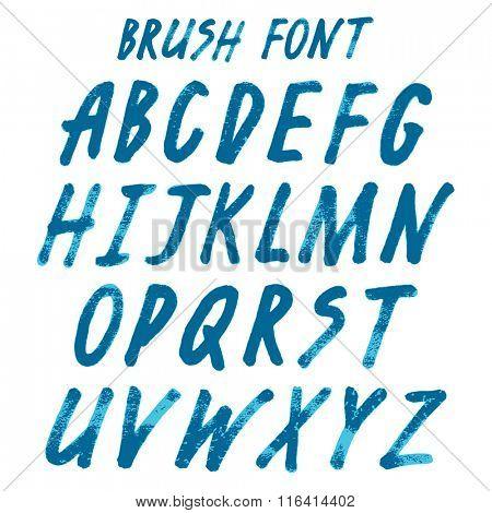 Brush handwritten full alphabet.  Blue ink script font. Irregular vector letters.