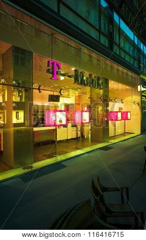 T-mobile Store Facade At Night