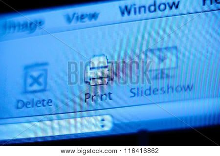 Print Button On Mac Os Computer Digital Display Screen
