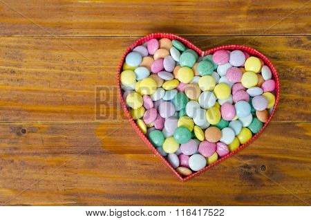 Heart Shaped Box With Small Chocolates Balls